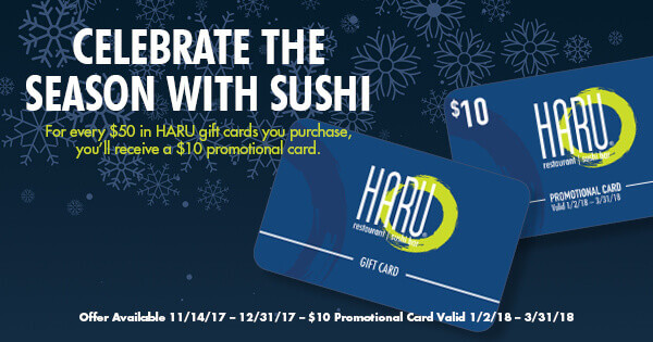 give the gift of sushi haru sushi - Holiday Gift Card Promotions 2017