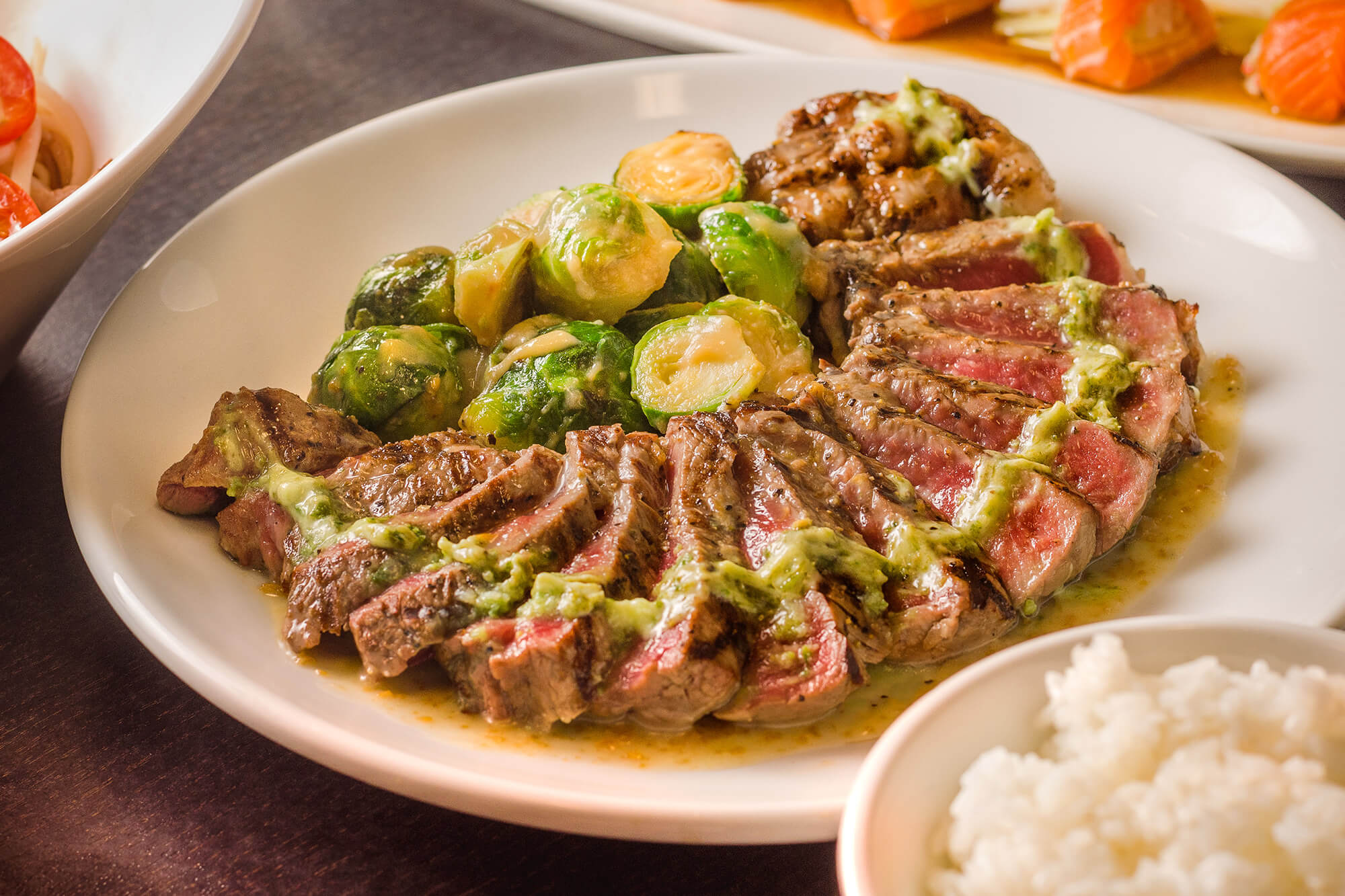 NY Steak with brussel sprouts