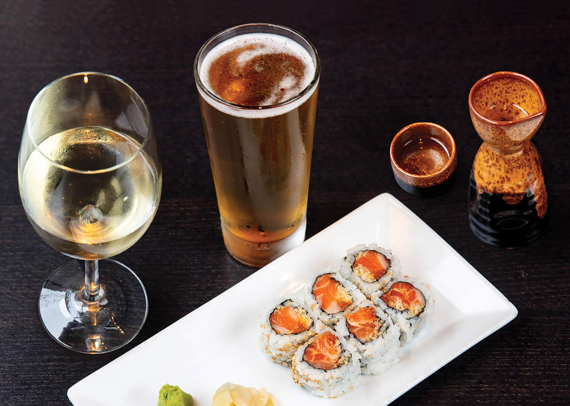 wine, beer and sake